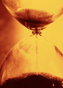 Hourglass running out of sand
