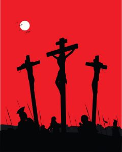 Three crosses with a red sky